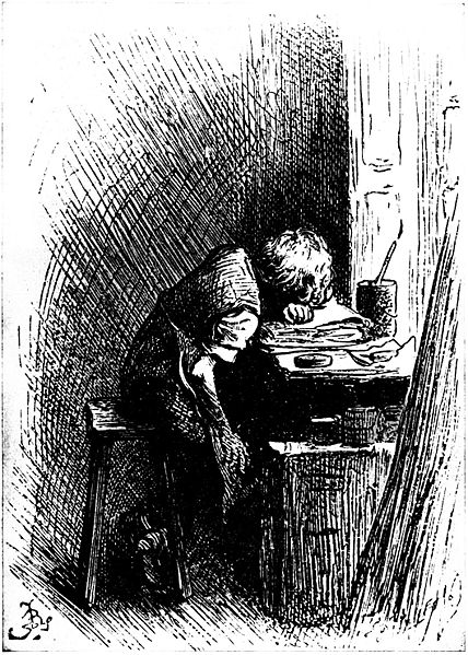 A 1904 artist's impression of Charles Dickens in the shoe polish factory