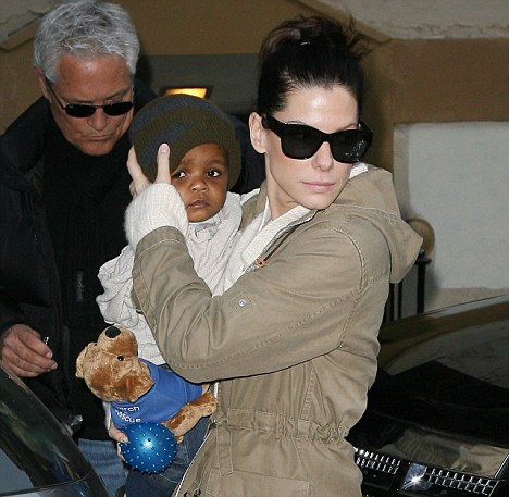Divorced actress Sandra Bullock with her adopted son, Louis