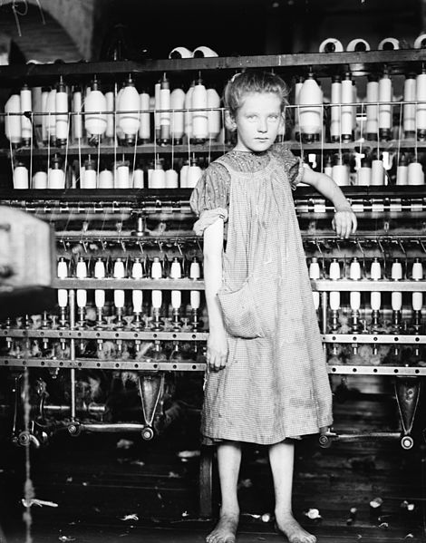 Photo by Lewis Wickes Hine of 12-year-old Addie Card in a Vermont cotton mill