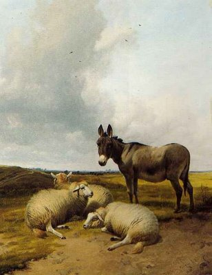 Donkey and Sheep in a Meadow, Thomas Sidney Cooper, 1880