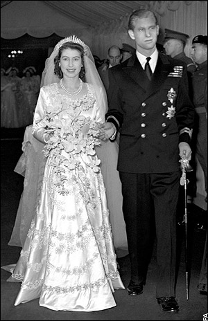 Queen Elizabeth and Prince Albert on their wedding day