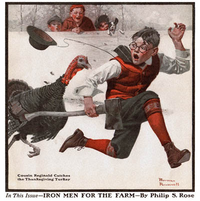 Norman Rockwell's Cousin Reginald Catches the Thanksgiving Turkey (1917)