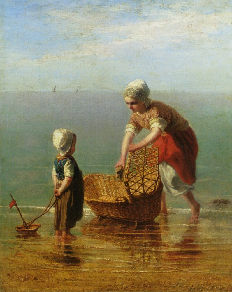 j1 Jozef Israëls (Dutch Realist painter,  1824-1911) Mother and Child by the Sea