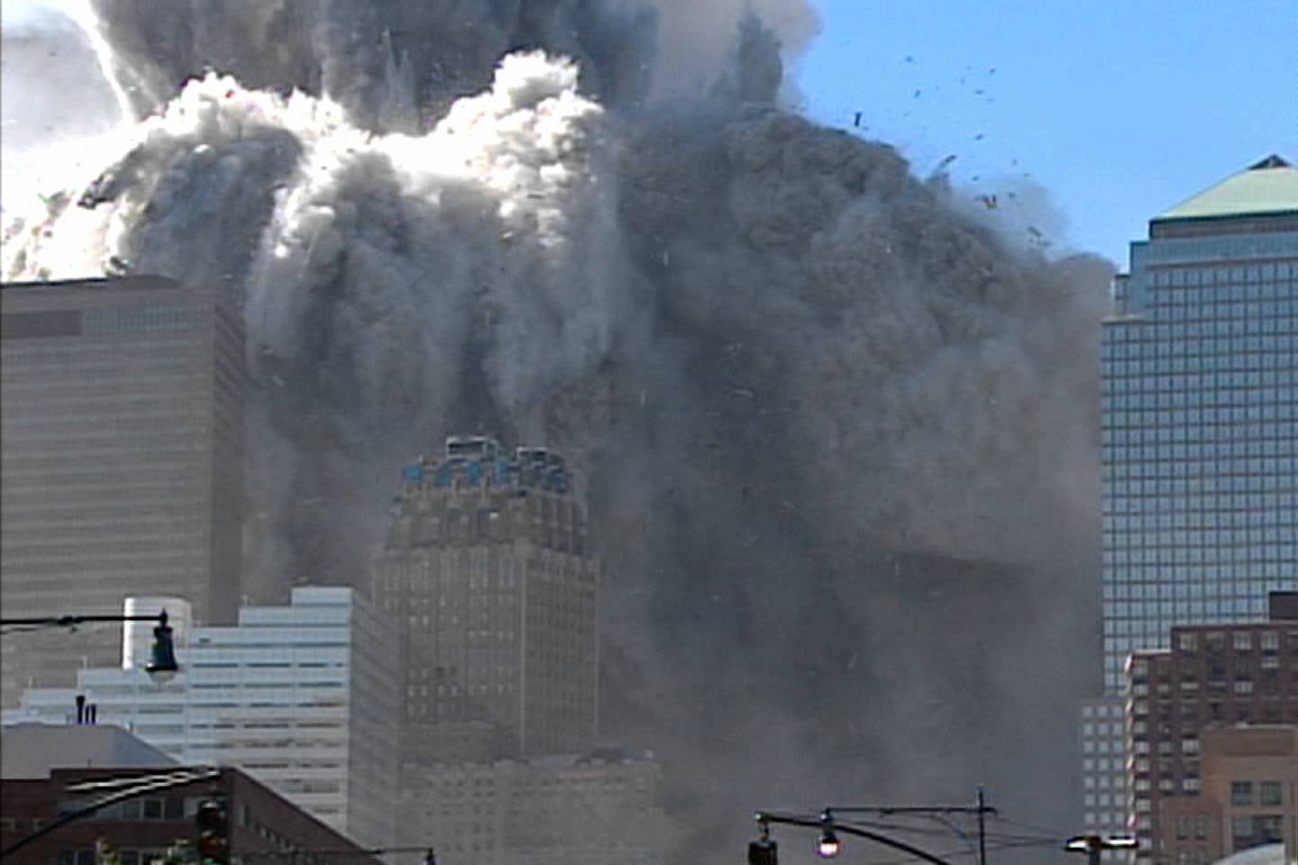 Pictures of the twin towers collapsing