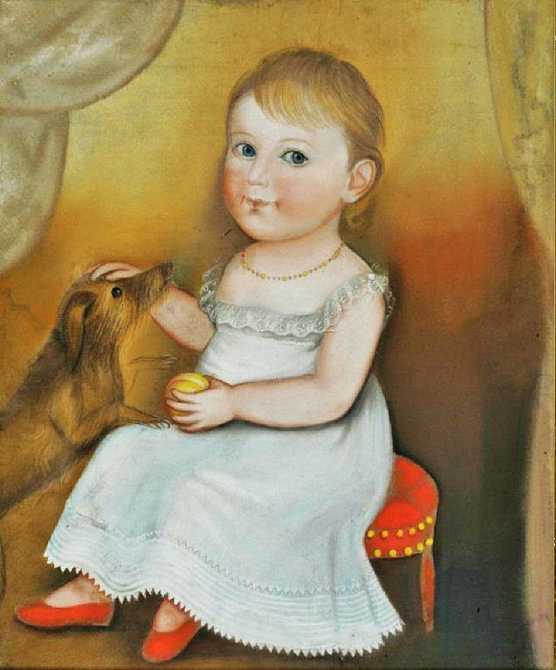 z Deacon Robert Peckham (American, 1785-1877). Portrait of a Young Child in a White Dress and Red Shoes with Peach and Dog. C. 1830