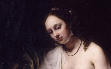 Bathsheba oil painting on canvas by Willem Drost (1654). [detail]