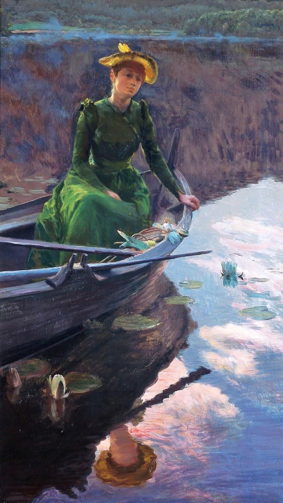 Christian Skredsvig (Norwegian painter, 1854–1924) 'Aften på innsjøen' 1892