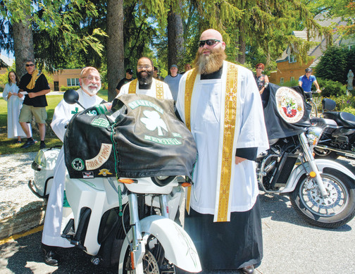 newly formed motorcycle ministry led by several priests of the archdiocese, including Fr Micciulla and Fr Jean-Paul 'Jack' Soler. Lunch and party held at Pennings Orchard in Warwick