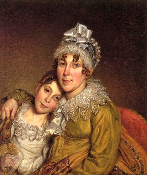 1818 Charles Willson Peale (American artist, 1741-1827) Mother Caressing Her Convalescant Daughter 1818 (1)