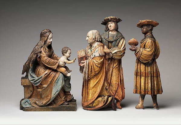 Virgin and Child, from an Adoration Group, ca. 1515–20 German, Limewood with polychromy; 20 3/16 × 14 3/8 × 7 11/16 in. (51.3 × 36.5 × 19.5 cm) The Metropolitan Museum of Art, New York, Purchase, Audrey Love Charitable Foundation Gift, 2013 (2013.1093) http://www.metmuseum.org/Collections/search-the-collections/633712