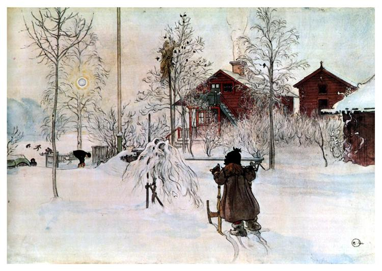 The Yard and Wash House, Carl Larsson