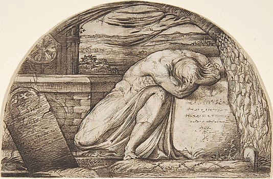 1827 or 1829 A Figure Weeping Over a Grave pen and brown ink 8 x 12.7 cm Metropolitan Museum of art, New York