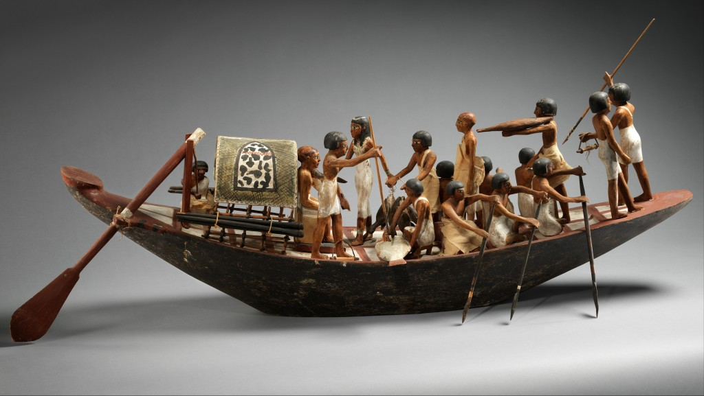 Sporting Boat, ca. 1981–1975 B.C. Egyptian, Middle Kingdom Plastered and painted wood, linen, linen twine, copper; Boat with rudder and paddles: L. 121.7 cm (47 15/16 in.); H. 34.3 cm (13 1/2 in.); W. 30.6 cm (12 1/16 in.) Hull: L. 112.5 cm (44 5/16 in.); W. 23.7 cm (9 5/16 in.) The Metropolitan Museum of Art, New York, Rogers Fund and Edward S. Harkness Gift, 1920 (20.3.6) http://www.metmuseum.org/Collections/search-the-collections/544126